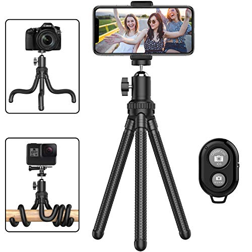 Phone Tripod, Portable Cell Phone Camera Tripod Stand with Wireless Remote, Flexible Tripod Stand for Selfies/Vlogging/Streaming/Photography Compatible with All Cell Phone, Sports Camera GoPro