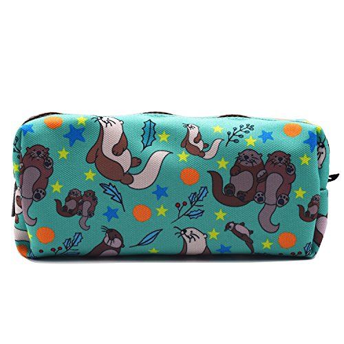 Otters Pencil Case Students Canvas Pen Bag Pouch Stationary Case Makeup Cosmetic Bag (Blue)