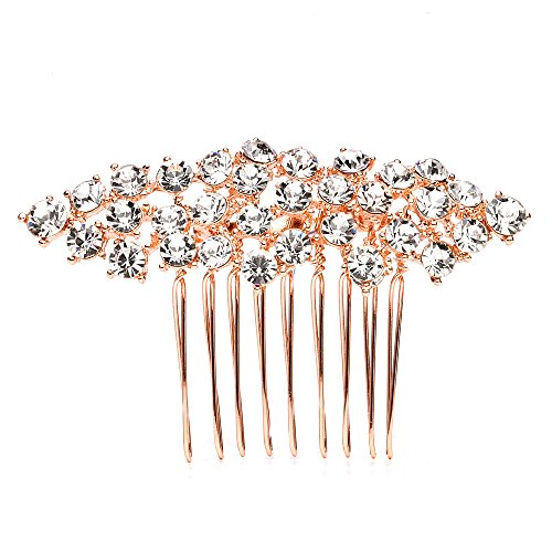 Mariell Rose Gold Hair Comb with Clear Crystals, Wedding Hair Jewelry for Brides, Bridesmaid or Prom Girl