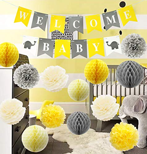 Furuix Yellow Grey Elephant Baby Shower Decorations Gray and Yellow Nursery Decor Honeycomb Balls Welcome Baby Banner Yellow and Gray Baby Shower Decorations - Gender Neutral Baby Decor