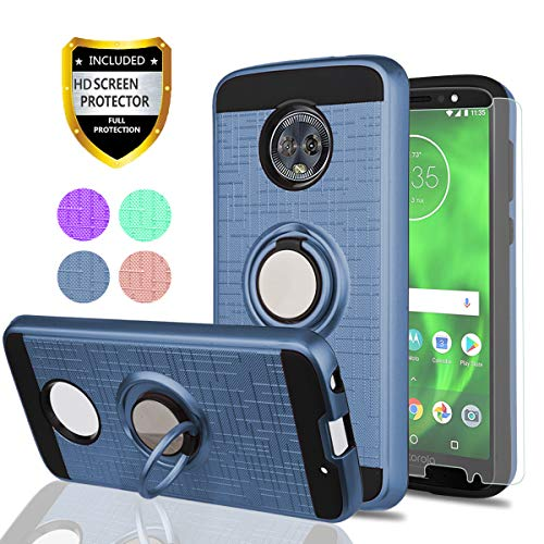 Moto G6 Case, Moto G (6th Generation) Phone Cases with HD Phone Screen Protector,YmhxcY 360 Degree Rotating Ring & Bracket Dual Layer Resistant Back Cover for Motorola Moto G6 5.7 Inch-ZH Metal Slate
