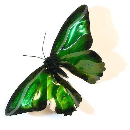 Modern Artisans American Handmade Copper Butterfly Indoor/Outdoor Wall Sculpture, Green Enamel (Butterfly Copper Hangers)