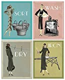 Laundry Room Artwork Funny Vintage Signs: Set of 4 Vintage Laundry Room Signs
