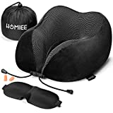 HOMIEE Travel Pillow, Memory Foam Neck Pillow, 360° Head & Neck Support Travel Cushion Essentials, Including Sleep Mask, Earplugs, Ideal for Sleeping, Travelling, Airplanes and Flights