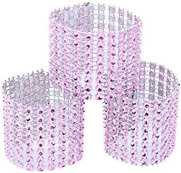 Yalulu 50 stuks kleur handgemaakte strass servetring gouden zilver servet ring met klittenbandsluiting voor bruiloft Kerstmis bal diner decoratie tafeldecoratie