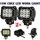 2x 18W 4'' Cree LED Work Light Bar Spot Beam Offroad 4WD UTE SUV Fog Driving Lamp