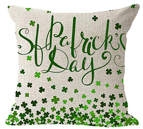 Cotton Throw Irish (Happy St. Patrick Day Green Lucky Grass Clover Hat Gold Coin Blessing Irish National Day Gift Cotton Linen Square Throw Waist Pillow Case Decorative Cushion Cover Pillowcase Sofa 18
