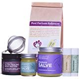 New Mama Gift Set Natural Baby Gift for New Mom and Baby, Postpartum Herbal Tea, Newborn Salve, Body Butter for Stretch Marks, All Purpose Salve, Two Mild Lip Balms.