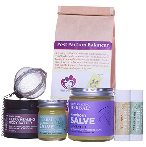 New Mama Natural Gift Box With Organic Postpartum Herbs Tea, Paraben Free Salve (Cream, Moisturizer, Ointment)
