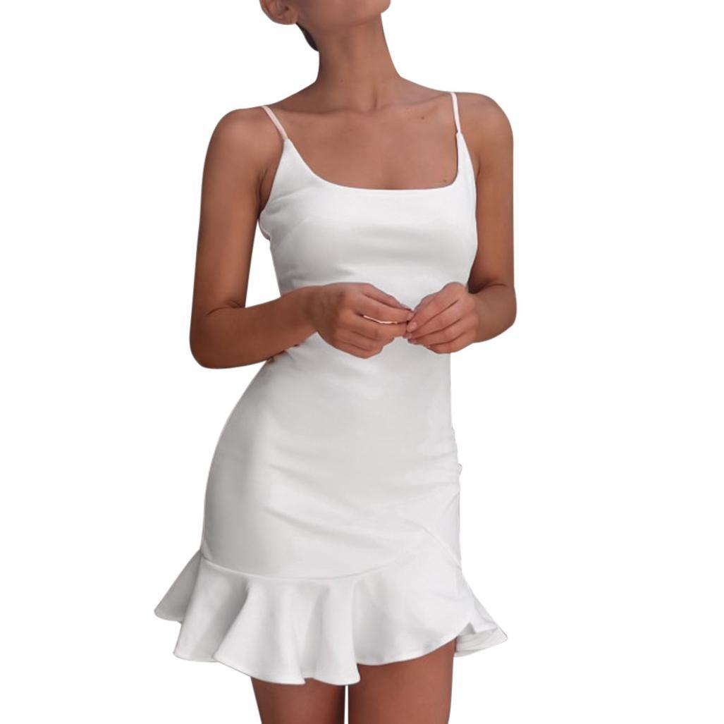 Vestido de verano de mujer, Dragon868 Mini vestido sin mangas con volantes sin mangas para niñas en la playa