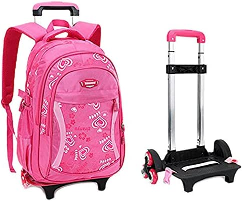 Fellibay Rolling Backpack Kids Backpack 3 Wheels Kids Trolley Schoolbag Girls Backpack with Adjustable Trolley