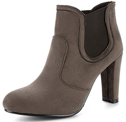 IDIFU Womens Retro Round Toe High Chunky Heels Faux Suede Pull On Motor Ankle Boots Gray gbNB7ZOM0Z