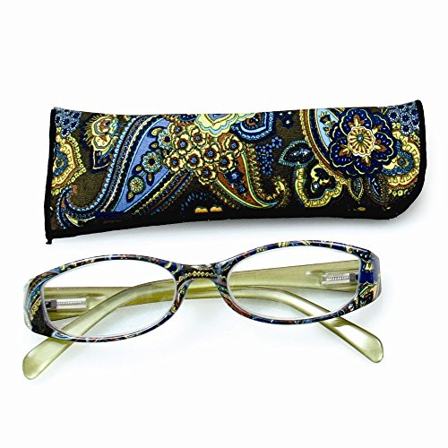 Price comparison product image Top 10 Jewelry Gift Green With Flower Print 2.25 Magnification Reading Glasses