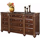 Ashley Furniture Signature Design - Gabriela Dresser - 9 Drawers - Traditional - Replicated Mahogany Grain - Dark Reddish Brown