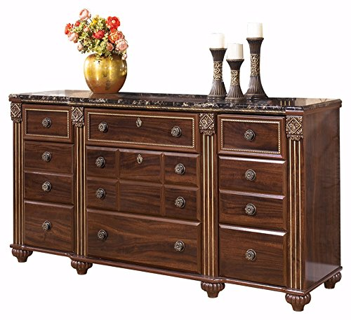 Ashley Furniture Signature Design - Gabriela Dresser - 9 Drawers - Traditional - Replicated Mahogany Grain - Dark Reddish Brown ()