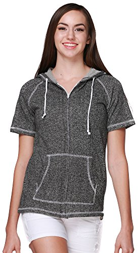 (Pimatee Women's French Terry Short Sleeve Zip Hoodie Large Black)