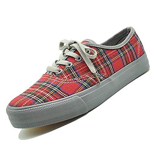 Gris Zapatos De Rojo con Deporte rojo Zapatillas Caña De De Redonda Mujer PU Puntera Poliuretano Caída SHOESHAOGE qwWn6dFvq