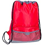 Waterproof Drawstring Sport Bag, lightweight Sackpack backpack for Men and Women (Pattern 2 red)