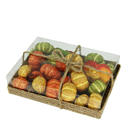Autumn Harvest Pumpkins, Fall Leaves and Pinecones Bowl or Vase Filler Decorations (Pine Cone Vase)