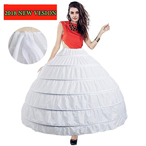 BiBOSS Hoop Skirt Crinoline Underskirt Full Length 6 Hoops Petticoats for (Full Ball Skirt)