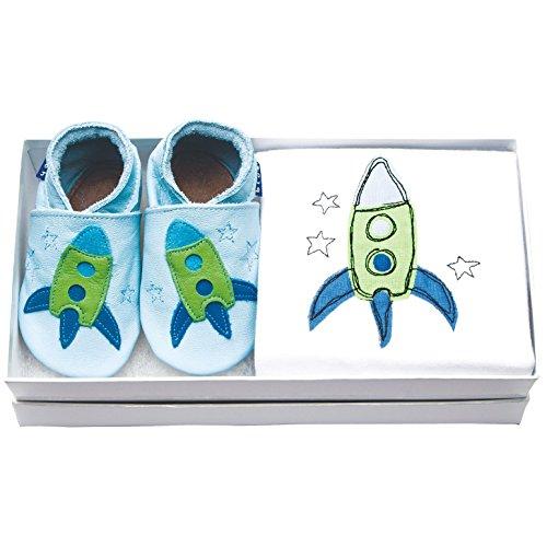 Inch Blue fille/garçon Baby Coffret cadeau–Chaussures en cuir & Grenouillère en coton–Avec broderie décorée–Fusée Bleu & Vert