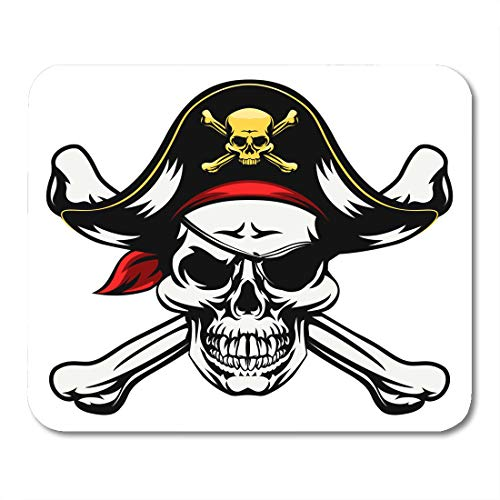Semtomn Mouse Pad Skull and Crossbones Dressed in Pirate Costume Hat Eye Mousepad 9.8
