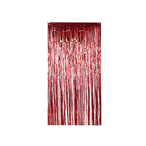 Lelinta 3.28X9.84ft Metallic Tinsel Foil Shimmer Fringe Rain Curtains Backdrop Curtain for Wedding Party Birthday Photo Background Decorations (Red-2 PCS)