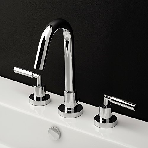 Deck-mount three-hole faucet with a goose-neck swiveling spout, two lever handles, and a pop-up drain. Water flow rate: 1 gpm pressure compensating aerator, Brushed Gold