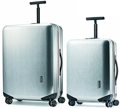 ova 2 Piece Spinner Luggage Set | 20 and 28 Plus Samsonite Travel Pillow (One Size, Metallic Silver) (Samsonite Garment Spinner)