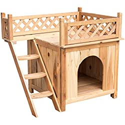 "Sundale Outdoor Deluxe Wood Cat House Indoor Dog House,Wooden Indoor Dog House Cat Condo for Small Pets,30"" L X 20"" W X 26"" H"