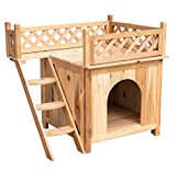 Sundale Outdoor Deluxe Wood Cat House Indoor Dog House,Wooden Indoor Dog House Cat Condo for Small Pets,30''L X 20''W X 26''H