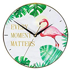 KI Store Decorative Wall Clock Nordic Modern Style 12-Inch Flamingo Wall Clock Silent Non Ticking Clock Battery Operated Bedroom Living Room Office Kitchen