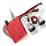 Careshine USA!Dental Surgical Binocular Loupes 3.5X Optical Glass420mm+LED Head Lamp light RED