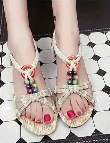 ShangYi Women's Shoes Flat Heel Flip Flops/Comfort Sandals Outdoor/Office & Career/Dress Black/Brown/White White Pg3cN8LLBr