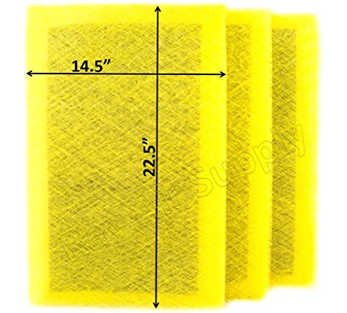 RAYAIR SUPPLY 16x25 MicroPower Guard Air Cleaner Replacement Filter Pads (3 Pack) Yellow