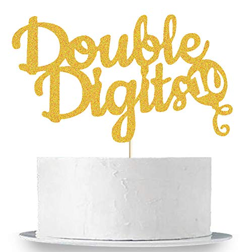 Double Digits Cake Topper, 10th Birthday Cake Topper, Double Digits Tenth Birthday Party Cake Supplies Decorations (Tenth Birthday Candles)