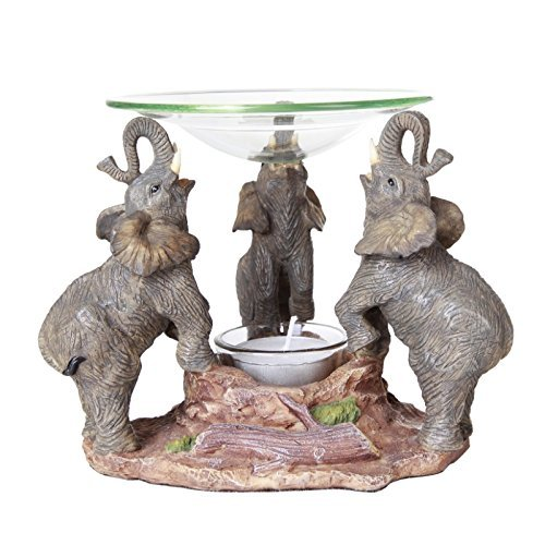 Pacific Giftware Novelty Lucky Elephants Scented Oil Warmer Diffuser Collectible -