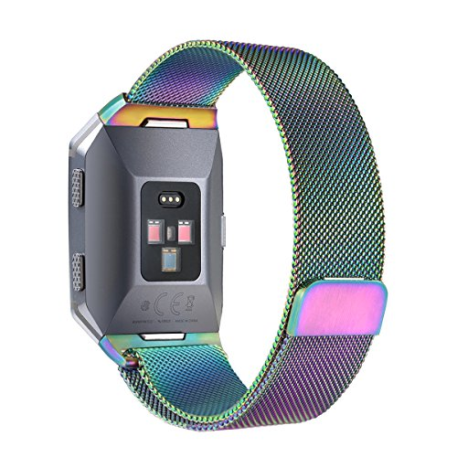 bayite for Fitbit Ionic Bands, Stainless Steel Milanese Loop Metal Replacement Strap with Unique Magnet Lock Accessories for Fitbit Ionic Small Pearlescent