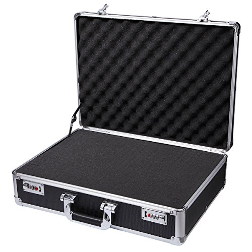 Aluminum Hard Case - Aluminum Hard Case Foam Black Briefcase ToolBox Carrying Case Portable Tool Case