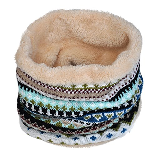 Fashion Winter Fleece Scarf - Lo Shokim Winter Double-Layer Fashion Fleece Lining Knit Neck Warmer Circle Scarf Windproof-Green