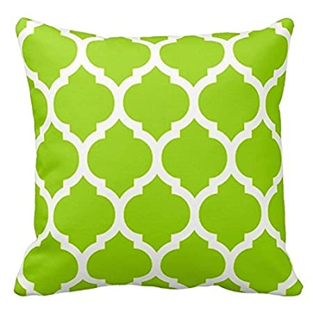 Lime Green and White Decorative Cushion Covers Throw Pillow Case Moroccan Quatrefoil Pattern Print Square Two Sides 16X16 Inch Poppy-Baby P-B101-21213896-1