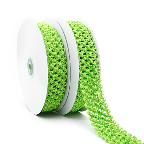 Wholesale Tutu Supplies (Elastic Crochet Headband Ribbon, 1-1/4 inch (30mm) x 5 Yards x 2 Rolls, Lime. Hair Accessories, Hair Bow, Waistband for Baby, boy and)