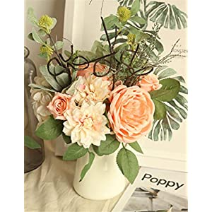 Flojery 1Bunch Artificial Rose Silk Dahlia Fake Flower Bouquet Bride Bridesmaid Holding Flowers for Home Hotel Office Wedding Party Garden Craft Art Decor (Peach Pink) 40