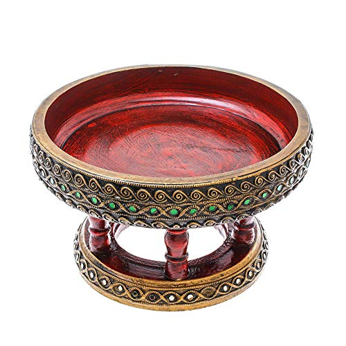 NOVICA Mango Wood Hand Crafted Bowl, Gold Tone and Red, Lanna ()