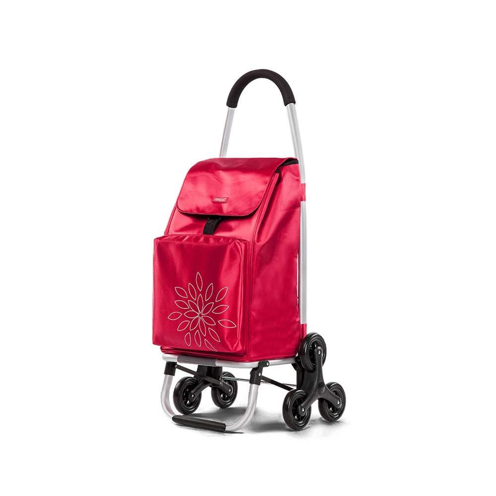 登山階段ショッピングトロリー買物野菜ショッピングカート折りたたみ赤 GW B07MVVCQBZ