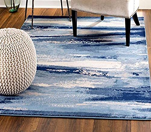 MADISON COLLECTION 408 Modern Abstract Blue Area Rug Clearance Soft and Durable Pile. Size Option 7 .4 x 6 , 7 .4 x 10 .6