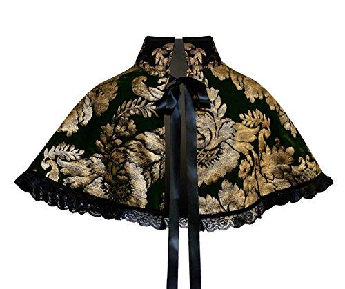 [Victorian Gothic Renaissance Steampunk Mori Girl Velvet Capelet Collar Black Gold] (Punk Fairy Costumes)