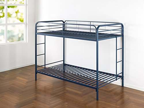 Zinus Easy Assembly Quick Lock Metal Bunk Bed Dual Ladders, Twin Over Twin, Blue 2