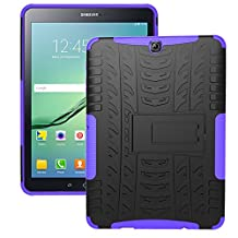 Tab S2 9.7 Case, iCoverCase [Heavy Duty] Hybrid Shock Proof Protective Case Dual Layer Armor Defender Rugged Drop Proof Cover with Kickstand for Samsung Galaxy Tab S2 9.7 SM-T815/SM-T810 (Purple)
