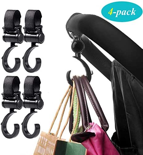 Blue HOUTBY Stroller Hook 2 Packs Baby Diaper Bag Purse,Groceries Organizer Accessorie 360 rotating Adjustable Hooks for Shopping Bag